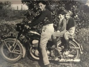 William's Mother with William and his half sister on the motorcycle in Renmark, in 1958